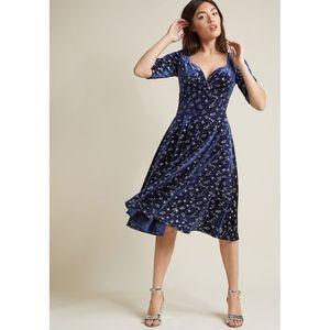NWT Modcloth Trixie Velvet Sparkle Blue Doll Dress